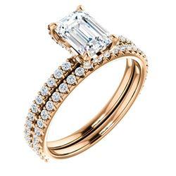 Natural 2.32 CTW Halo Emerald Cut Diamond Bridal Ring 14KT Rose Gold