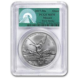 2017 Mexico 1 oz Silver Libertad MS-70 PCGS (FS, Green Label)