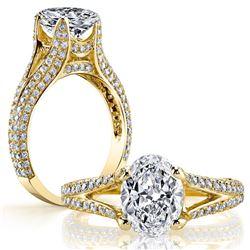 Natural 3.02 CTW Oval Cut Diamond Split Shank Engagement Ring 18KT Yellow Gold