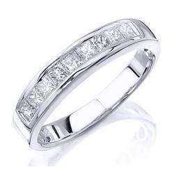 Natural 1.37 CTW Princess Cut Diamond Wedding Ring 18KT White Gold