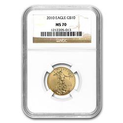 2010 1/4 oz Gold American Eagle MS-70 NGC