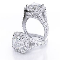 Natural 2.42 CTW Halo Asscher Cut Split Shank Diamond Engagement Ring 18KT White Gold