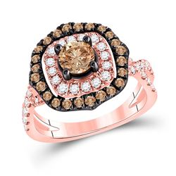 14kt Rose Gold Round Brown Diamond Halo Bridal Wedding Engagement Ring 1-5/8 Cttw