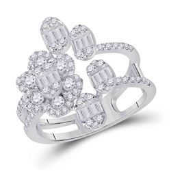 14kt White Gold Womens Baguette Diamond Flower Band Ring 1 Cttw