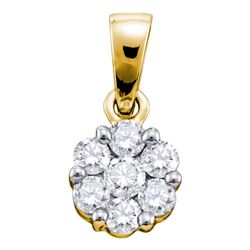 14kt Yellow Gold Womens Round Diamond Flower Cluster Pendant 1 Cttw