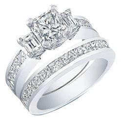 Natural 3.72 CTW Princess Cut Channel Set Diamond Ring 14KT White Gold
