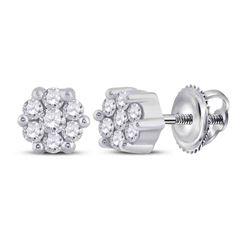 14kt White Gold Womens Round Diamond Flower Cluster Earrings 1/6 Cttw