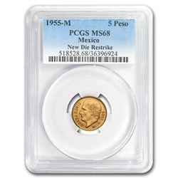 1955 Mexico Gold 5 Pesos MS-68 PCGS (Restrike)