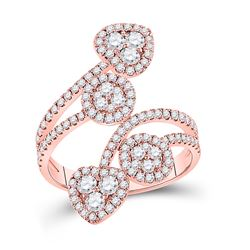 14kt Rose Gold Womens Round Diamond Bypass Cluster Heart Ring 1-1/4 Cttw