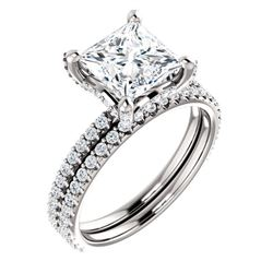 Natural 2.72 CTW Under-Halo Princess Cut Diamond Ring 18KT White Gold