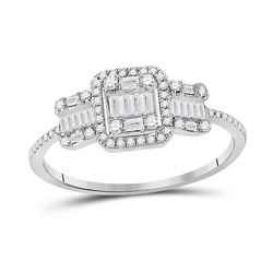 14kt White Gold Womens Baguette Diamond Triple Cluster Ring 3/8 Cttw