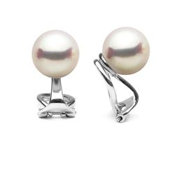 White Hanadama Japanese Akoya Pearl Clip-On Earrings