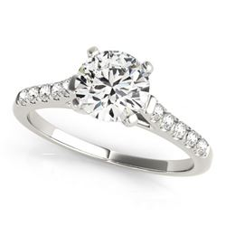 Natural 0.77 ctw Diamond Solitaire Ring 14k White Gold