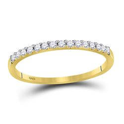 14kt Yellow Gold Womens Round Diamond Wedding Single Row Band 1/6 Cttw Size 6