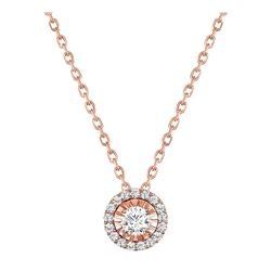 Natural 0.67 CTW Halo Diamond Pendant Necklace 18KT Rose Gold