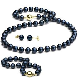 Black Akoya Pearl 3-Piece Jewelry Set, 7.0-7.5mm