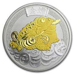 2018 Australia 1 oz Silver Money Toad BU (Gilded)