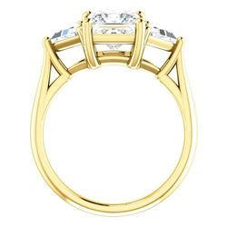 Natural 2.22 CTW Princess Cut & Trillion Cut 3-Stone Diamond Ring 18KT Yellow Gold