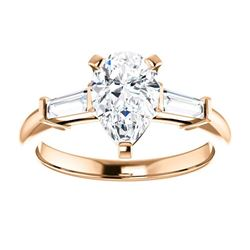 Natural 1.82 CTW Pear Cut & Baguette Cut 3-Stone Diamond Ring 14KT Rose Gold