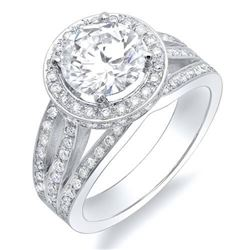 Natural 3.12 CTW Halo Split Shank Round Brilliant Cut Diamond Engagement Ring 18KT White Gold