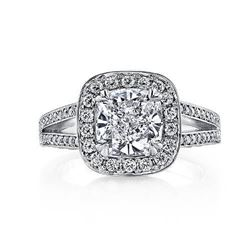 Natural 1.97 CTW Halo Cushion Cut Diamond Micro Pave Engagement Ring 18KT White Gold