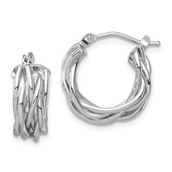 14k White Polished Braided Hoop Earrings - 40 mm