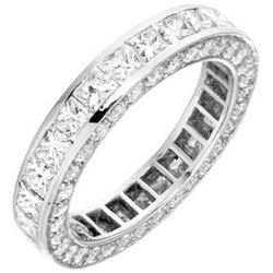 Natural 4.52 CTW Princess Cut Channel Set & Pave Sides Diamond Eternity Ring 14KT White Gold