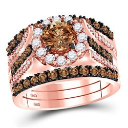 14kt Rose Gold Womens Round Brown Diamond Bridal Wedding Ring Band Set 2-1/4 Cttw
