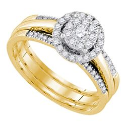 14kt Yellow Gold Round Diamond Bridal Wedding Ring Band Set 1/2 Cttw