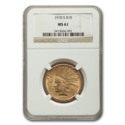 1910-S $10 Indian Gold Eagle MS-61 NGC