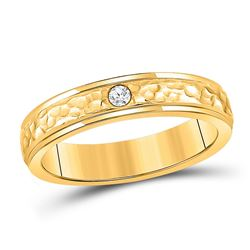 14kt Yellow Gold Womens Round Diamond Solitaire Band Ring 1/20 Cttw