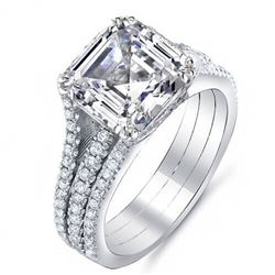 Natural 3.31 CTW Asscher Cut Diamond Engagement Ring 18KT White Gold