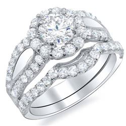 Natural 3.47 CTW Halo Round Cut U-Setting Diamond Bridal Set 14KT White Gold