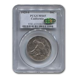 1925-S California Silver Half Dollar Commemorative MS-65 PCGS CAC