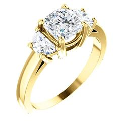 Natural 1.72 CTW 3-Stone Cushion Cut & half moons Diamond Ring 14KT Yellow Gold