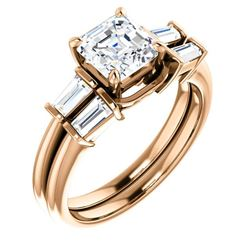 Natural 1.42 CTW Asscher Cut & Baguette Diamond Bridal Set 14KT Rose Gold