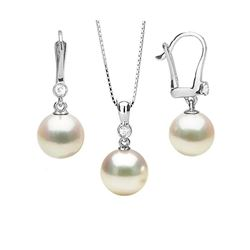 Akoya Pearl and Diamond Bezel Pendant and Dangle Earring Set