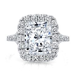 Natural 2.37 CTW Radiant Cut Halo Split Shank Diamond Ring 18KT White Gold