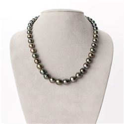 "Green and Copper Baroque Tahitian Pearl Necklace, 18"", 7.1-10.8mm, AA+ Quality"