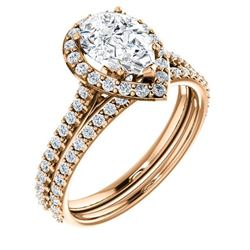 Natural 2.02 CTW Halo Teardrop Pear Cut Diamond Engagement Set 14KT Rose Gold