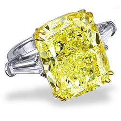 Natural 5.55 CTW Canary Yellow Cushion Cut Diamond Engagement Ring 18KT Two-tone