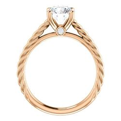Natural 1.12 CTW Round Cut Rope Style Diamond Engagement Set 14KT Rose Gold