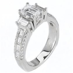 Natural 1.82 CTW Emerald Cut & Baguettes Diamond Engagement Ring 18KT White Gold