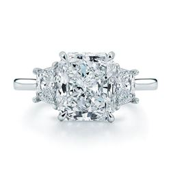 Natural 3.02 CTW Radiant Cut 3-Stone Diamond Engagement Ring 18KT White Gold