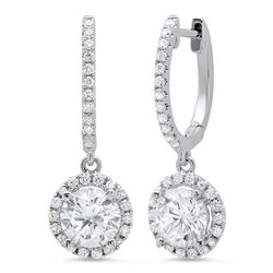 Natural 1.08 CTW Lever Back Halo Round Cut Diamond Earrings 14KT White Gold