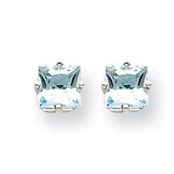 14k White Gold 6 mm Aquamarine Stud Earrings