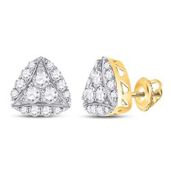 14kt Yellow Gold Womens Round Diamond Triangle Cluster Earrings 7/8 Cttw