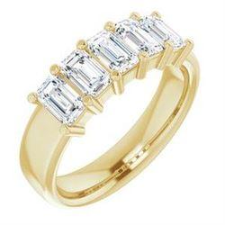 Natural 1.52 CTW Emerald Cut 5-Stone Diamond Ring 14KT Yellow Gold