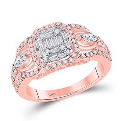 14kt Rose Gold Womens Baguette Diamond 3-Stone Cluster Ring 3/4 Cttw