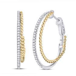 14kt Two-tone Gold Womens Round Diamond Hoop Earrings 1/2 Cttw